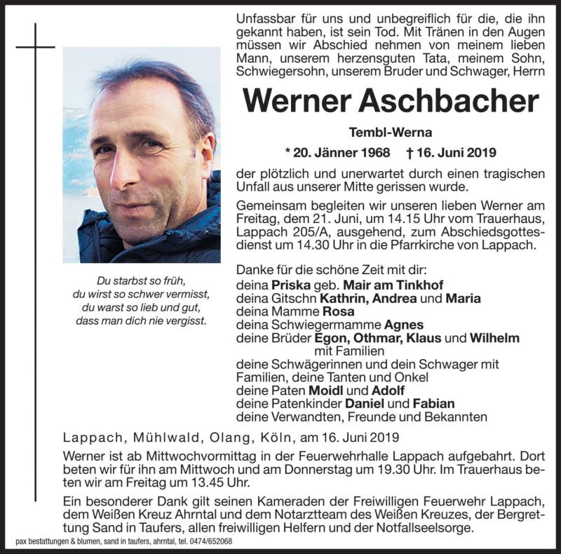 Anzeige Von Werner Aschbacher Trauer Dolomiten It